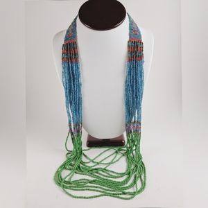 NY & Co Southwest Seed Bead Green Blue Necklace